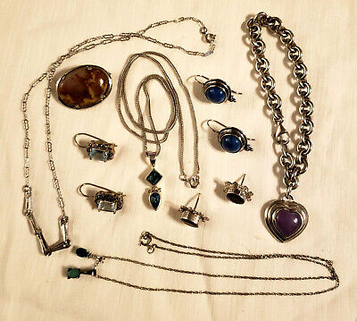 $ CDN25.23 • Buy Mixed Lot Of Sterling Silver 925 Earrings Necklaces Pin Jewelry - 65 Gr.