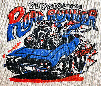Vintage 80s PLYMOUTH ROAD RUNNER Roadrunner Long Sleeve THERMAL T SHIRT Hot Rod • 0.01£