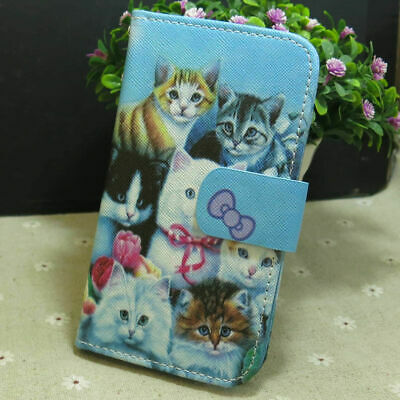 $ CDN8.26 • Buy Cute Cat Group Wallet Card Slots Holder Flip TPU Case Cover For Smart Phone
