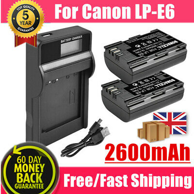 2X LP-E6 Rechargeable Battery + LCD USB Charger For Canon EOS 80D 6D 5D Mark II • 18.59£