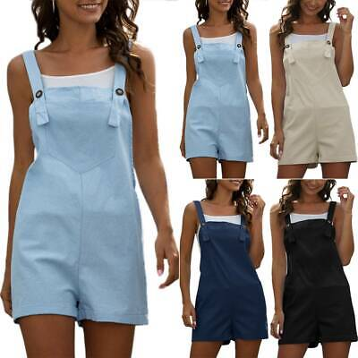 AU23.99 • Buy Womens Summer Casual Jumpsuit Strappy Bib Shorts Dungarees Overalls Short Pants