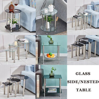 Nested Table Glass Top Side Beside Sofa End Nest Of Table Living Room Home New • 27.99£