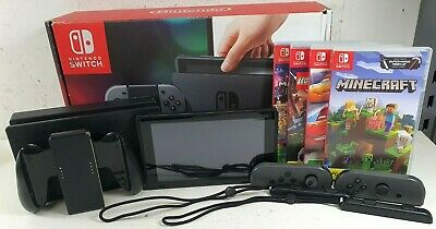 AU202.50 • Buy Nintendo Switch Black Portable Gaming Console HAC-001 + 4x Games