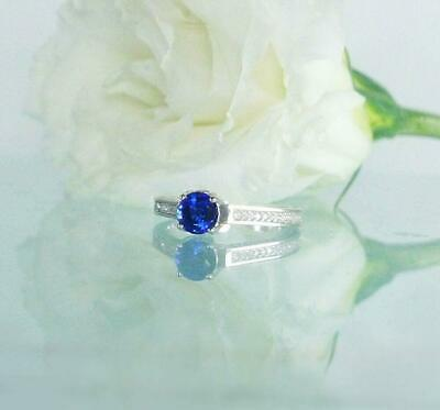 AU129.99 • Buy 1ct Round Cut Blue Sapphire Engagement Ring 14k White Gold Over Accent Solitaire