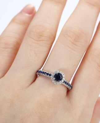 AU129.99 • Buy 1.6ct Round Cut Blue Sapphire Engagement Ring 14k White Gold Over Halo Solitaire