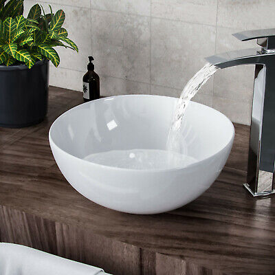 £31.34 • Buy Bathroom Basin Sink Hand Wash Counter Top Wall Mounted Hung Round Bowl Ceramic