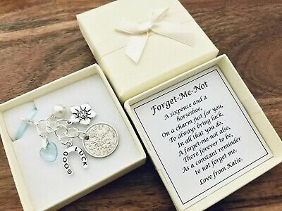 £4.99 • Buy LUCKY SIXPENCE FORGET-ME-NOT Charm, Leaving Gift, Good Luck, PERSONALISED GIFT