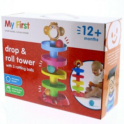 My First Drop & Roll Tower Approx 41cm Tall Baby Toddler Toys Playset 12 Months+ • 9.99£