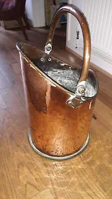 Antique Copper Log Bin / Coal Bucket Scuttle • 75£
