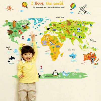 £8.98 • Buy Removable Map Of World Animals Zoo Wall Sticker  Baby Kids Children  Room