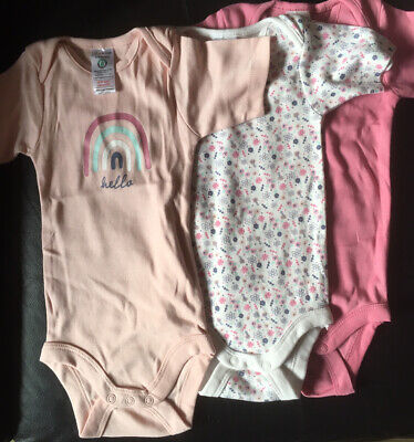 £3 • Buy Trio Of Baby Vests - Short Sleeves - Pink/ Floral/ Rainbow - Size 9 - 12 Months