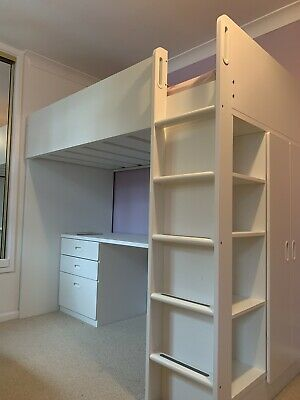 Excellent Condition IKEA Stuva Loft Cabin Bed With Desk, Drawers, Wardrobe • 75£