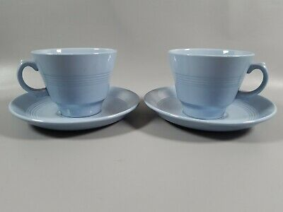 £14.99 • Buy Vintage Blue Iris Woods Ware Cup And Saucer X 2 Tea For Two 40s Utility
