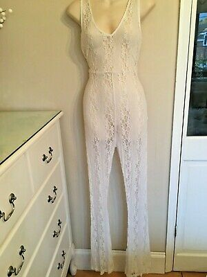 Asos Off White Lace Jumpsuit 14 Beach Party Clubbing Holiday Playsuit • 14.99£
