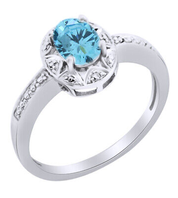 $ CDN248.25 • Buy Aquamarine & White Natural Diamond Halo Ring In 14k Gold Over Sterling Silver