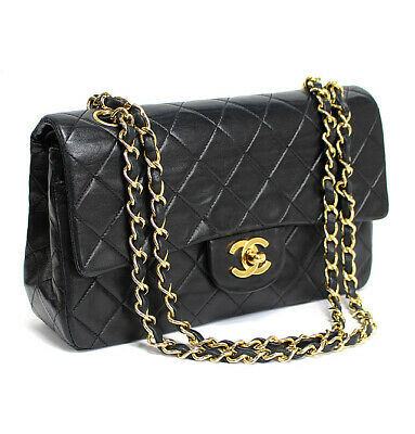£2673.33 • Buy CHANEL Quilted Lambskin Classic 23 Double Flap Chain Shoulder Bag Black #53223