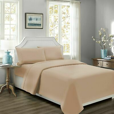 Ultra Comfort 100%EgyptCotton 800TC ~Duvet Set+Fitted Sheet~ Beige Solid UK~SIZE • 72.99£