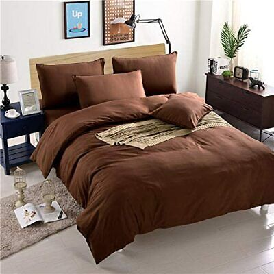 ~Duvet Set+Fitted Sheet~ Ultra Softest 100%EgyptCotton 800TC Brown Solid UK~SIZE • 72.99£