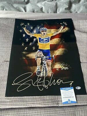 """Lance Armstrong Signed Artwork """"Le Boss"""".... Large Piece Beckett COA • 150£"""
