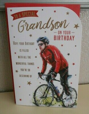 £3 • Buy To A Special Grandson On Your Birthday Card Happy Birthday Cycling Bike Ride