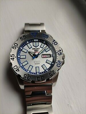 $ CDN324.35 • Buy Seiko 5 Sports Baby Ice Monster Snow Monster Automatic Watch Divers Bezel Mint