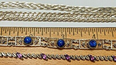 $ CDN108.51 • Buy 4 Lot Sterling Silver Bracelets 925 Milor Italy, 925 Hct Italy, 800 Silver &more