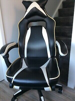 High Back Recliner Racing Style Gaming Swivel Chair With Footrest And Head Cushi • 35£
