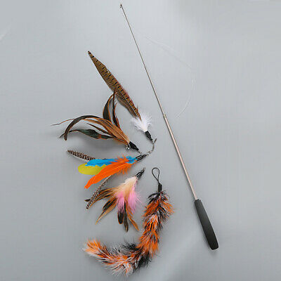 AU13.39 • Buy Cat Feather Toy Cat Toys Retractable Wand 5 Assorted Teaser Refills With Bells