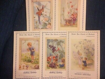 Five Vintage Margaret Tarrant Church Birthday Cards Mint Condition • 10£