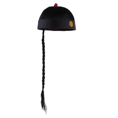 £7.87 • Buy Chinese Black Fancy Dress Hat With Ponytail Oriental Party