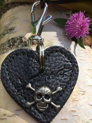 Black Leather Heart Skull Fob Keyring ~Silver Colour Swivel Lobster Trigger Clip • 19.99£