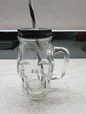 Brand New ClearGlass Skull Drinking Jar With Handle, Straw And Lid • 2.50£