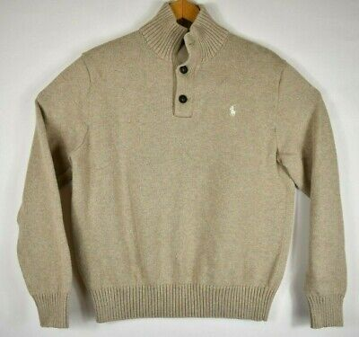 $23.96 • Buy Polo Ralph Lauren Sweater Pullover Knit 100% Cotton Henley Button Large Beige
