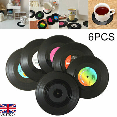 £6.71 • Buy 6Pcs Vinyl Retro Coaster CD Record Cup Drink Holder Mat Placemat Tableware New