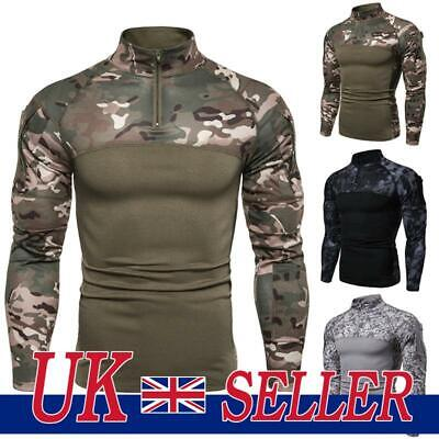 Men Tactical Army Shirt Military Camouflage Fitness Pullover Jumper Tops Hoodies • 16.89£