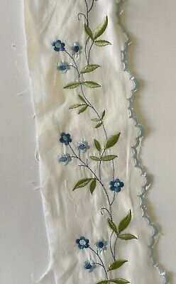£4.59 • Buy White Cotton Embroidered Lace Fabric Width 10 Cm 1 Yard
