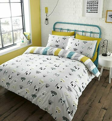 £13.99 • Buy Catherine Lansfield Cool Dogs Easy Care Reversible Duvet Cover Bedding Set Grey