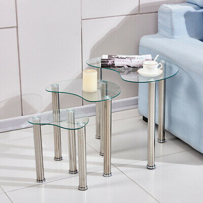 Set Of 3 Nested Table Glass  Side End Corner Sofa Table Chrome Legs Modern Clear • 41.99£