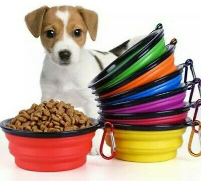 Pet Dog Bowl Water/Food Travel Collapsible Portable Silicone Bowl New Pet Gift • 2.79£