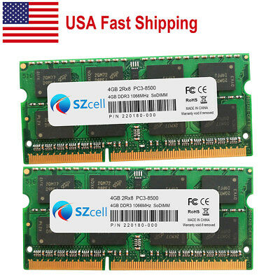 $41.35 • Buy 8GB 2x4GB 1066MHz PC3-8500 DDR3 SDRAM Memory For Macbook Pro A1297 A1278 A1296