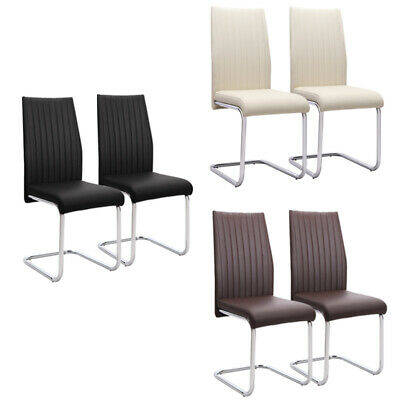 £99.95 • Buy 2x Dining Chairs Chrome Z Shape Base Faux Leather Padded Seat Home/Kitchen/Cafe