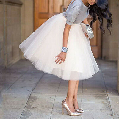 £9.99 • Buy Womens 6 Layers High Waist Tulle Tutu Skirt Princess A Line Party Prom Elastic