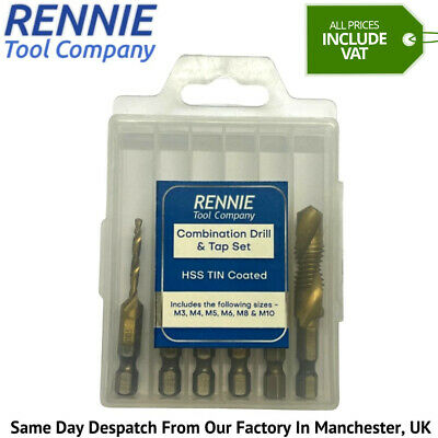 $16.91 • Buy Rennie Tools 6 Piece Combination HSS Drill And Tap Set M3 M4 M5 M6 M8 & M10
