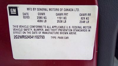$60 • Buy Console Front With Sun Roof Thru 08/01/04 Fits 04 GRAND PRIX 3412424