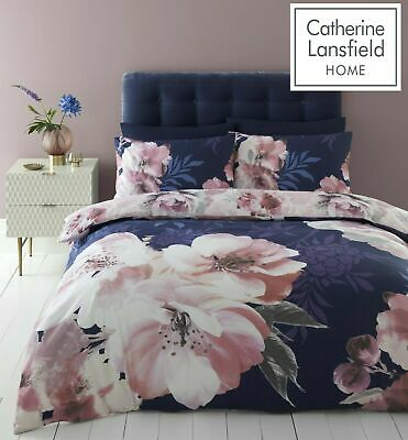 £20.99 • Buy Catherine Lansfield Dramatic Floral Easy Care Duvet Cover Bedding Set Navy