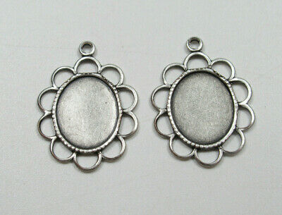£1.84 • Buy 10X8mm Settings Silver Loop Edge For Cameos Cabochon Mounting Frame Bezel Qty 2