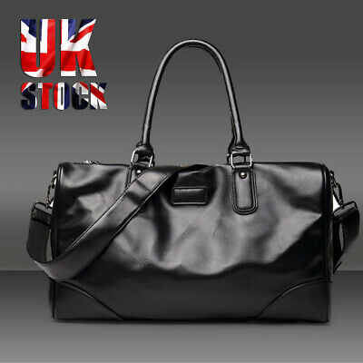 Men Leather Retro Duffle Luggage Weekend Gym Overnight Travel Tote Bag Gent Gift • 14.34£