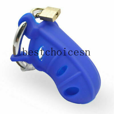 £16.19 • Buy Steel Ring Male Chastity Restraint Device Belt Lock Silicone Cage Trainer