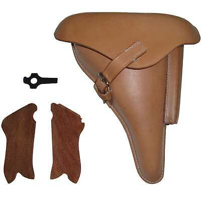 Leather Holster For WW2 P08 Natural W/Take Tool & Hand Grips (Reproduction) R478 • 49.59£