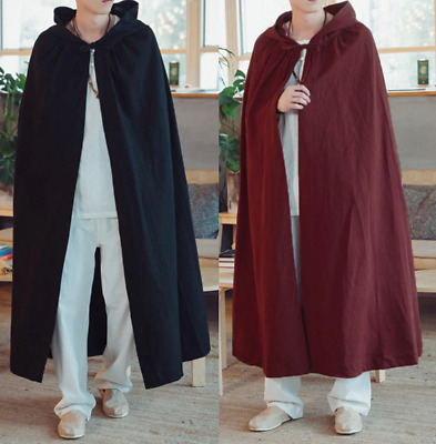 $22.08 • Buy Mens Long Hooded Cape Poncho Loose Fit Punk Parka Trench Casual Cloak Coat New